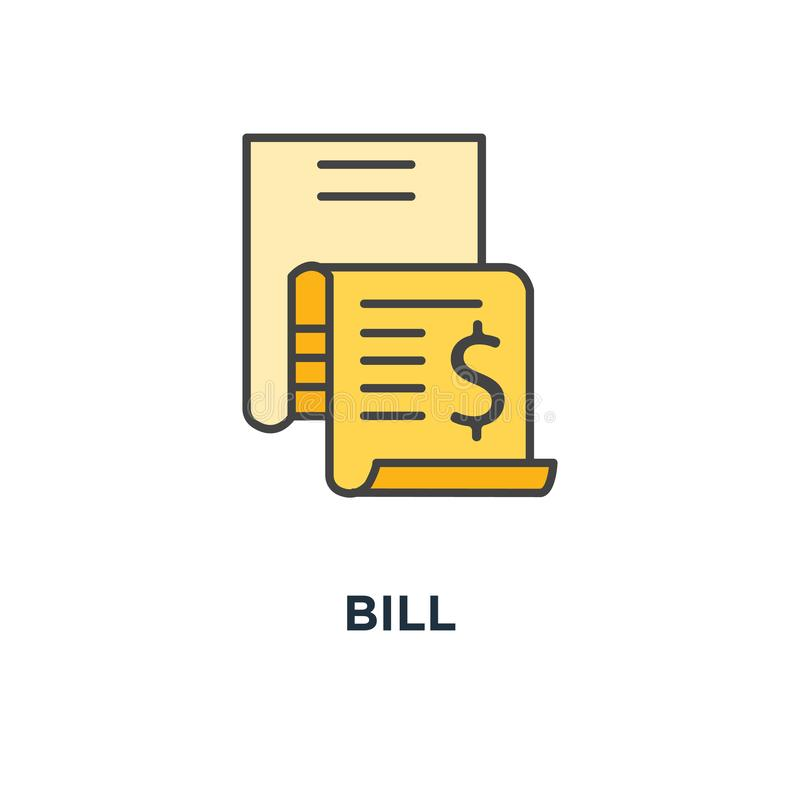 Bill icon. expense concept symbol design, invoice, money spending, financial report, account history, pay document, outline modern. For web design, vector royalty free illustration