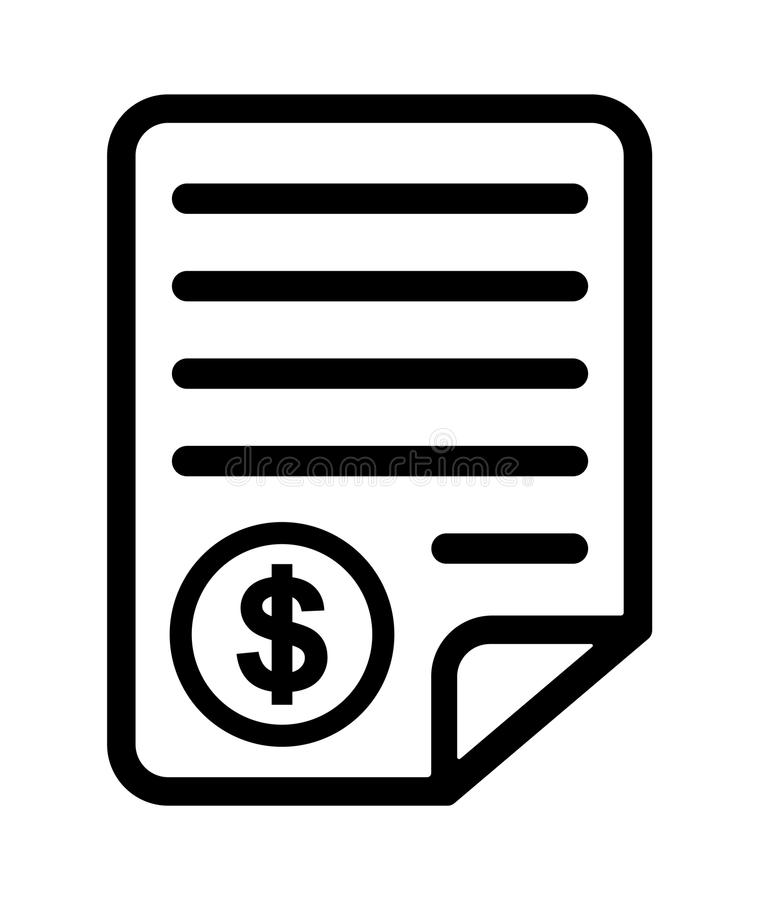 Bill icon. Simple vector illustration of black and white bill icon with dollar sign on white background royalty free illustration