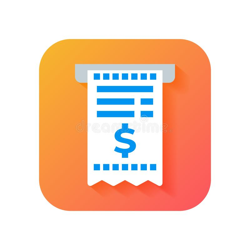 Bill icon, tax document icon, invoice icon. Modern Icon in Flat style on Gradient background. Vector icon for any purposes, royalty free illustration