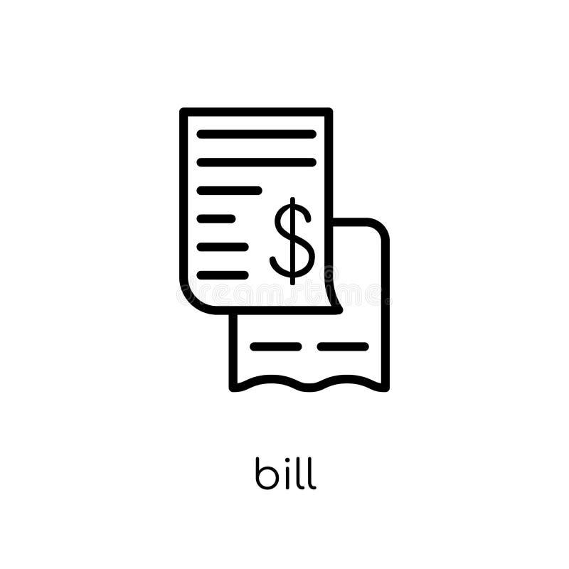 bill icon. Trendy modern flat linear vector bill icon on white b vector illustration