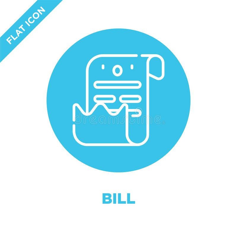 bill icon vector from take away collection. Thin line bill outline icon vector  illustration. Linear symbol for use on web and vector illustration