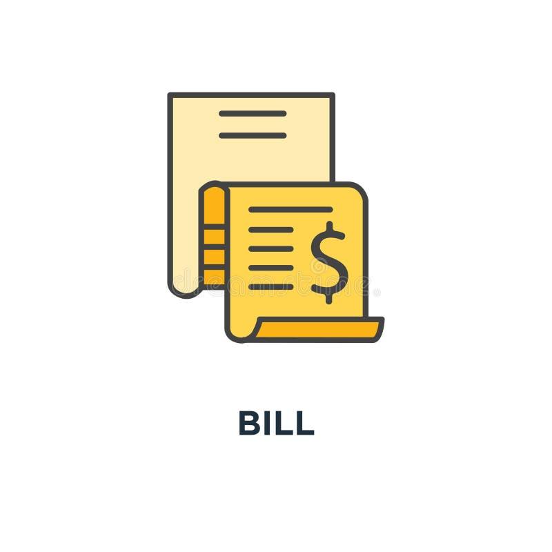 Bill ikona wydatkowy pojęcie symbolu projekt, faktura, pieniądze wydatki, pieniężny raport, obrachunkowa historia, wynagrodzenie  royalty ilustracja