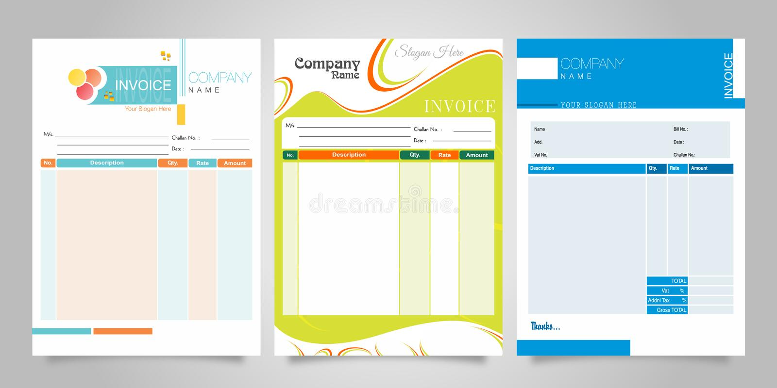 Bill Invoice Business design Corporet Set royalty free illustration