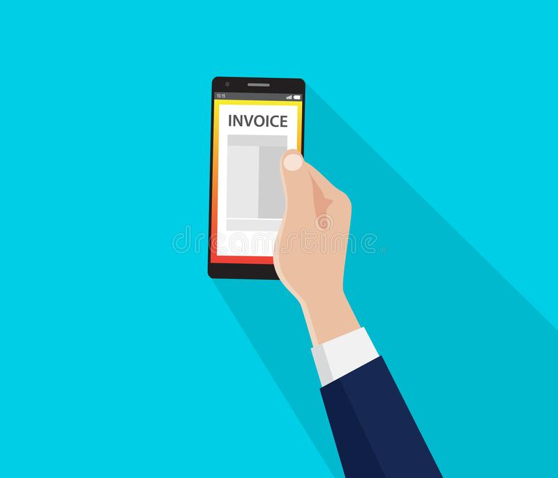 A bill invoice on the smartphone with hand and flat style long shadow royalty free illustration