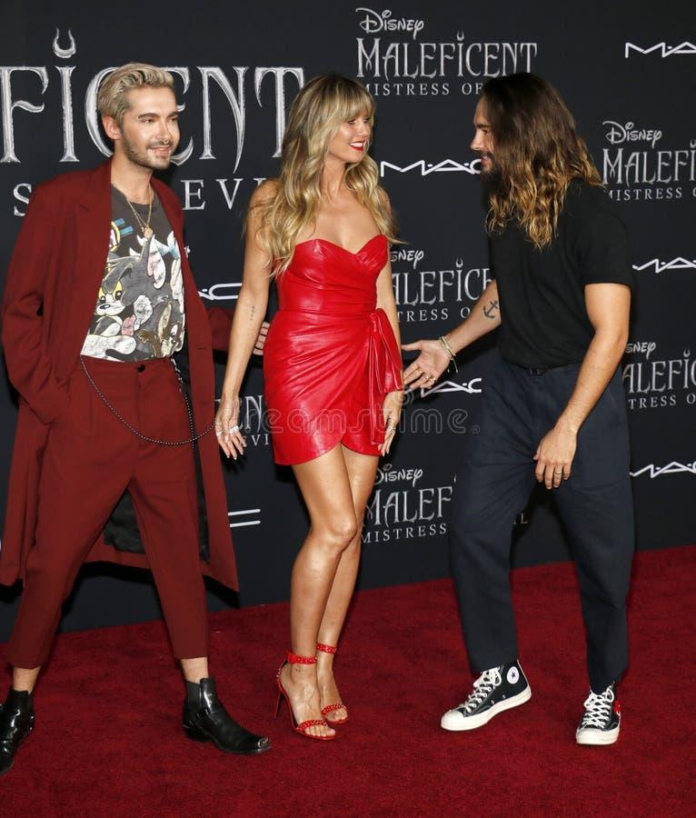 Bill Kaulitz, Heidi Klum, Tom Kaulitz stock images