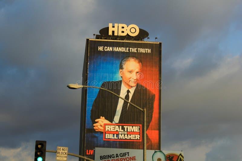 Bill Maher zmierzchu plakatowy pasek obraz stock