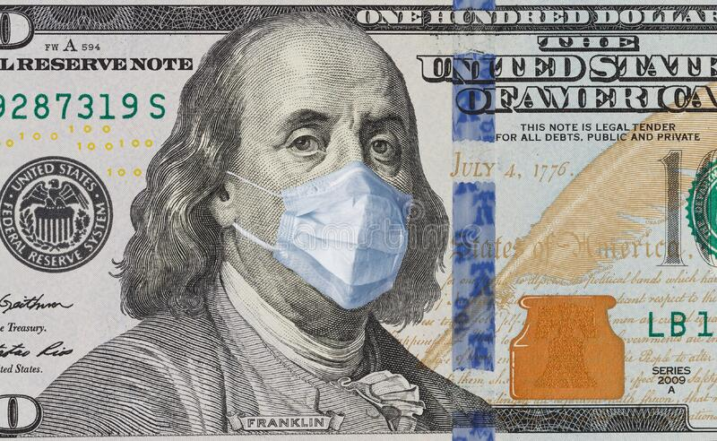 A 100 bill with a medical mask from Benjamin Franklin from the COVID-19 Coronavirus in the United States. A 100-dollar bill with a face mask by Benjamin Franklin stock photos