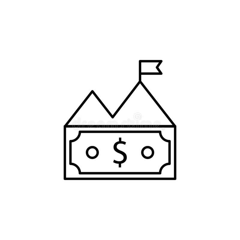 Bill, money, mountain, dollar icon. Element of finance illustration. Signs and symbols icon can be used for web, logo, mobile app. UI, UX on white background vector illustration