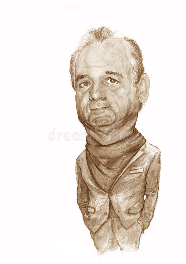 Bill Murray caricature Sketch. Sketch for editorial use for newspapers, magazines and web