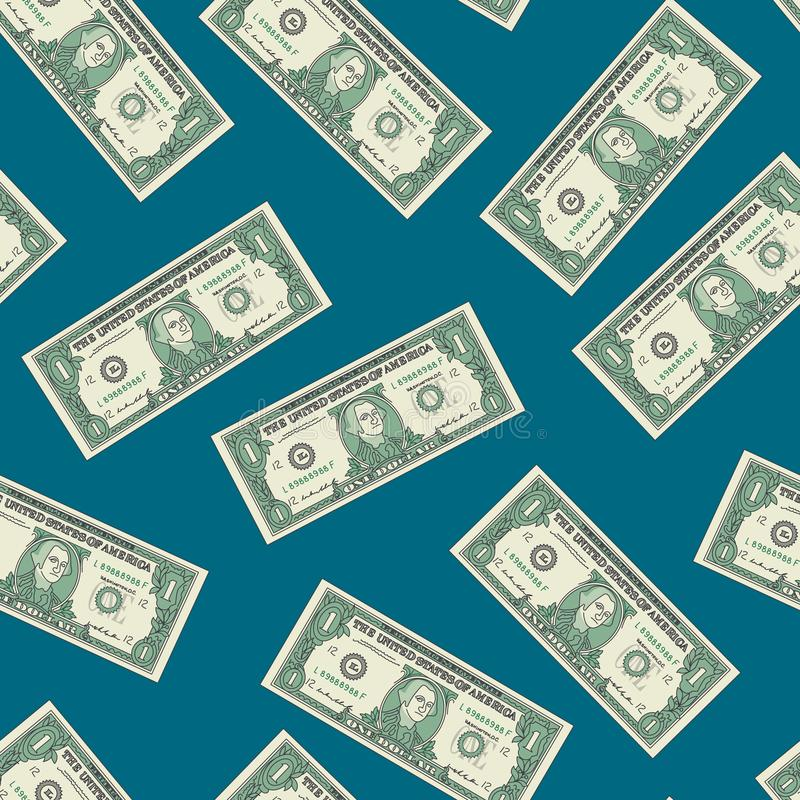 Bill One Dollar Banknot Seamless Pattern Background. Vector royalty free illustration