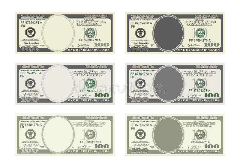 Bill one hundred dollars in six options. stock images