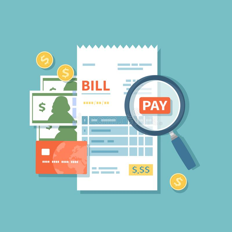 Bill paying. Paper check, reciept, invoice, order icon. Bill with magnifying glass, cash money banknotes, gold coins, credit card. stock illustration