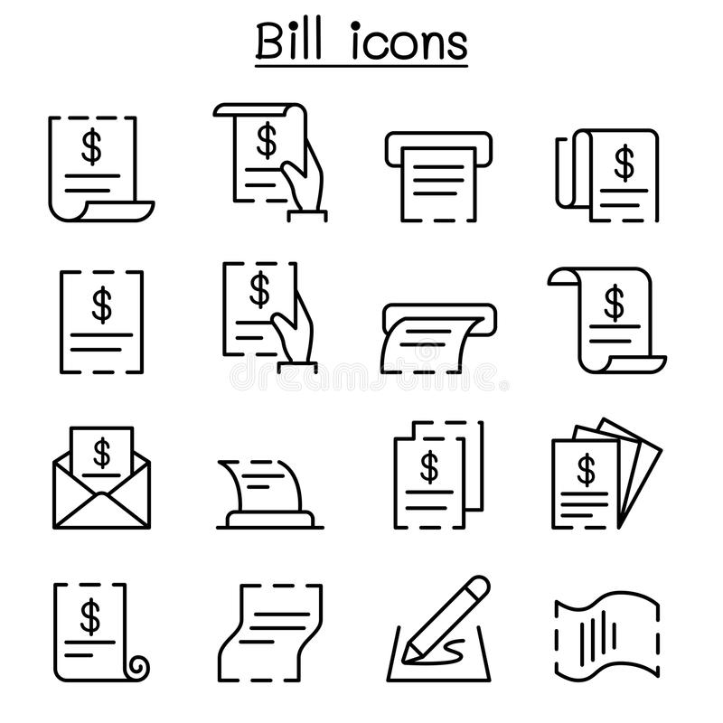 Bill, receipt, invoice, contract icon set in thin line style royalty free illustration