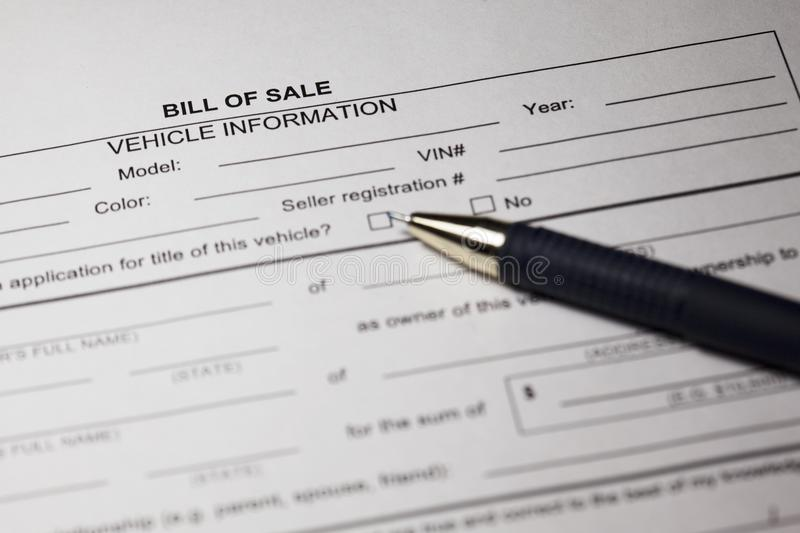 bill of sale form and pen stock image image of banking 120063481