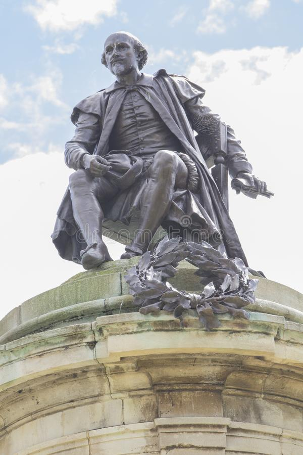Bill Shakespeare statue in Stratford-upon-Avon. William Shakespeare bapt. 26 April 1564 – 23 April 1616[a] was an English poet, playwright and actor royalty free stock photo