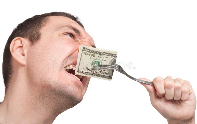 bill som biter upp den täta mannen för dollar hundra royaltyfri fotografi