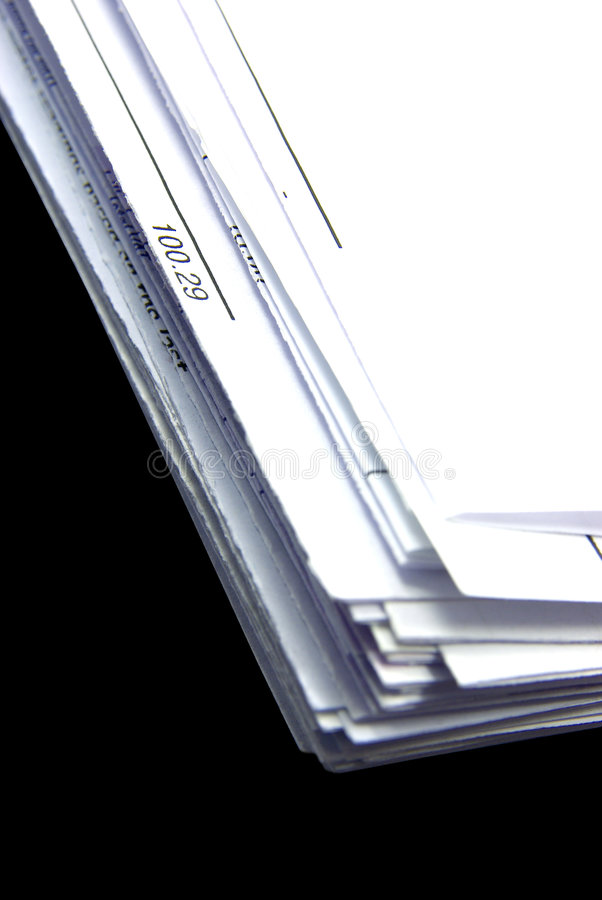 Bill stack details. Close-up view of a bill stack with a due ammount royalty free stock photos