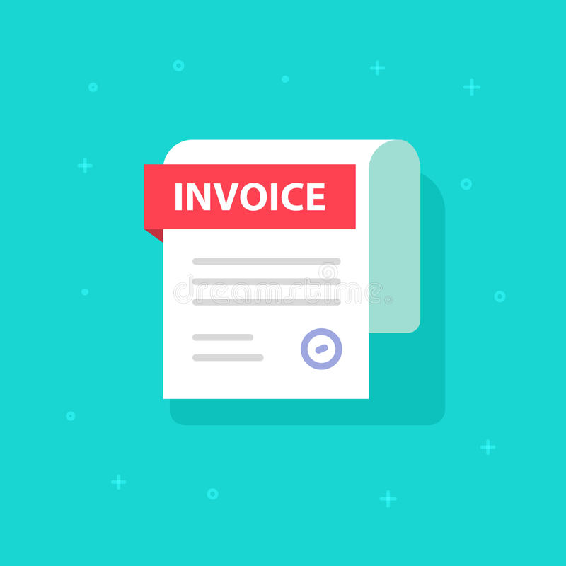 Bill vector icon, flat cartoon Invoice paper document, billing form illustration clipart. Bill vector icon, flat cartoon Invoice paper document isolated, billing royalty free illustration