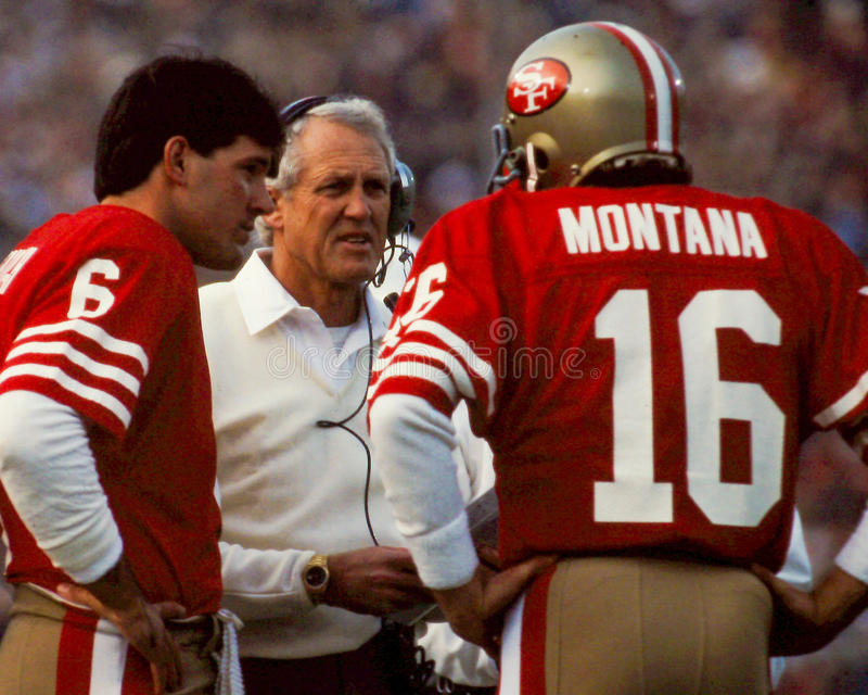 Bill Walsh e Joe Montana San Francisco 49ers fotografia de stock royalty free