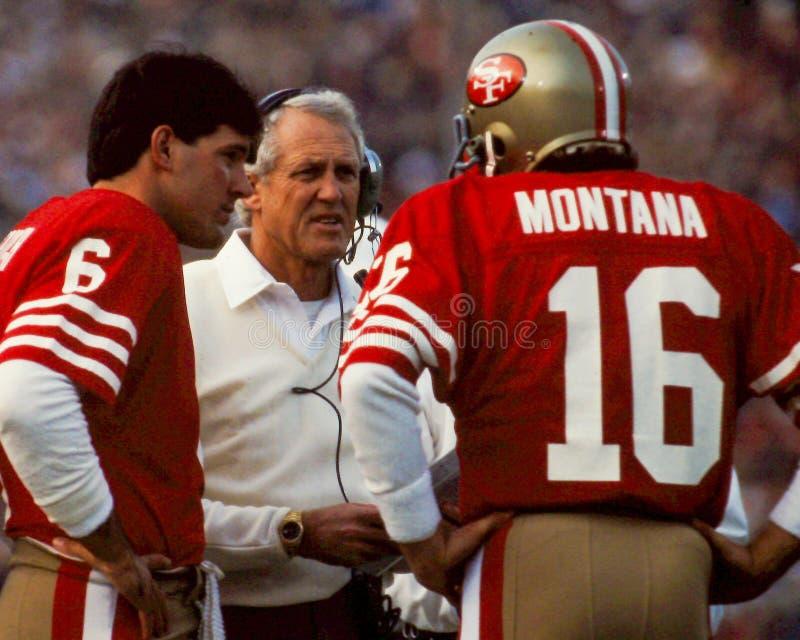 Bill Walsh och Joe Montana San Francisco 49ers royaltyfri fotografi