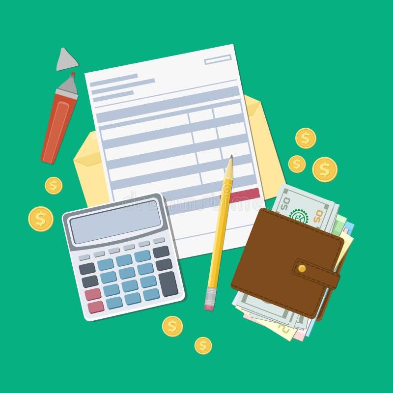 Bill zapłata lub podatek faktura Otwiera kopertę z czekiem, kalkulator, kiesa z pieniądze, ołówek, markier, złociste monety Widok ilustracji