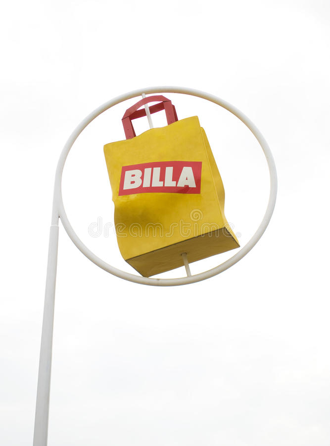 Billa supermarket symbol. Staying outsied one of Billa supermarkets royalty free stock photo