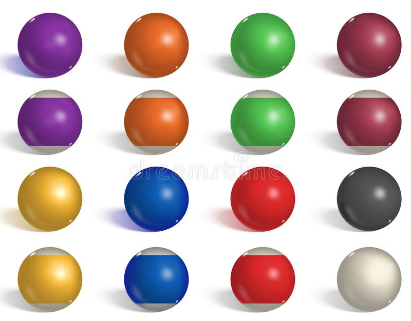 Billard, collection de boules de piscine billard Boules réalistes inverses, vides, latérales sur le fond blanc Illustration de ve illustration de vecteur
