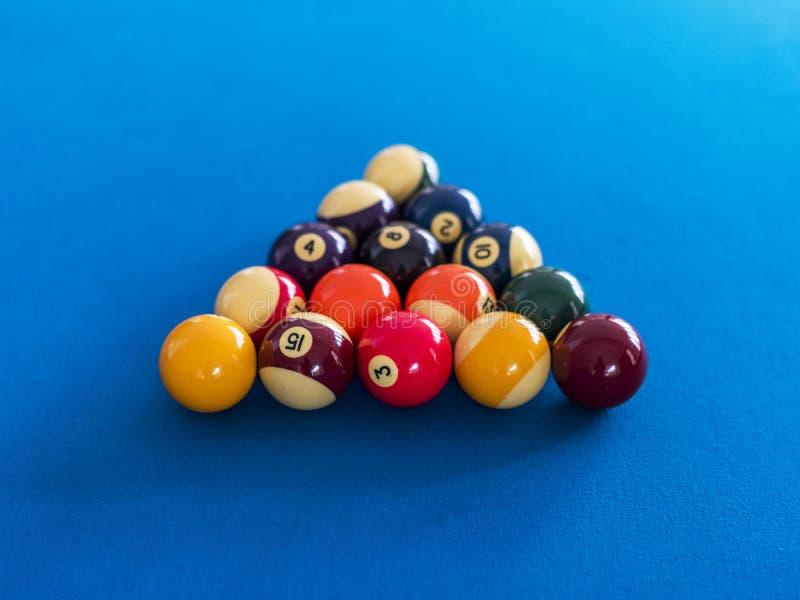 Billard piłki tworzyli na basenu stołu rozrywki pojęciu fotografia royalty free