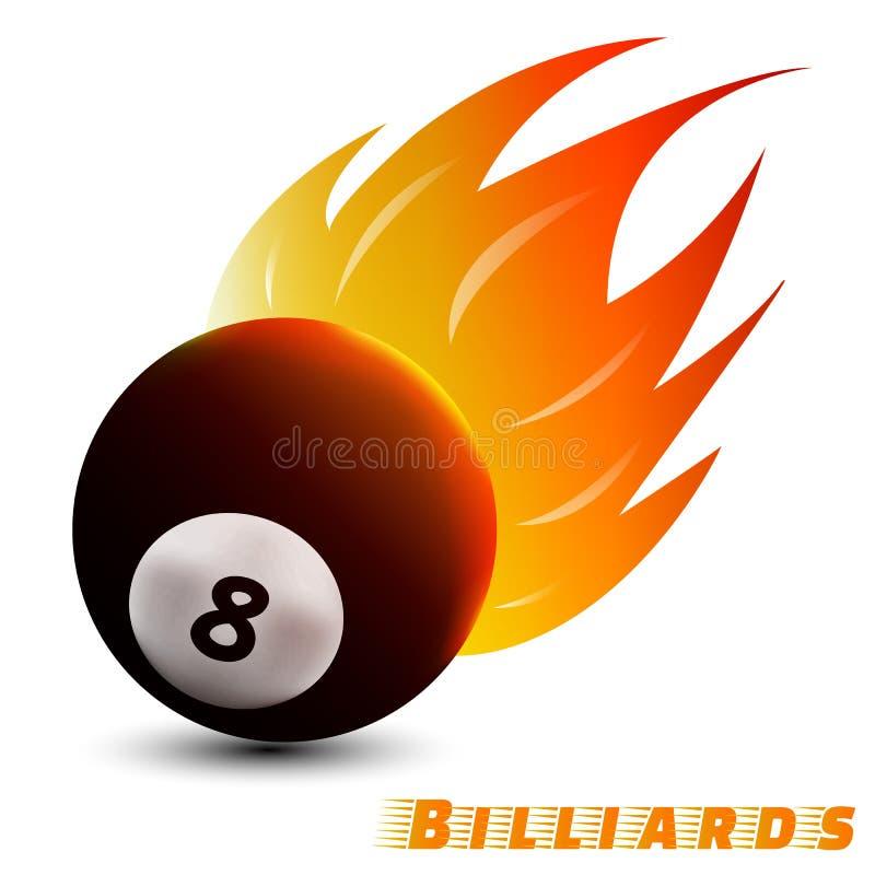Billardball mit rotem Tonfeuer des orange Gelbs im weißen Hintergrund Sportball-Logodesign Billardballlogo Vektor vektor abbildung