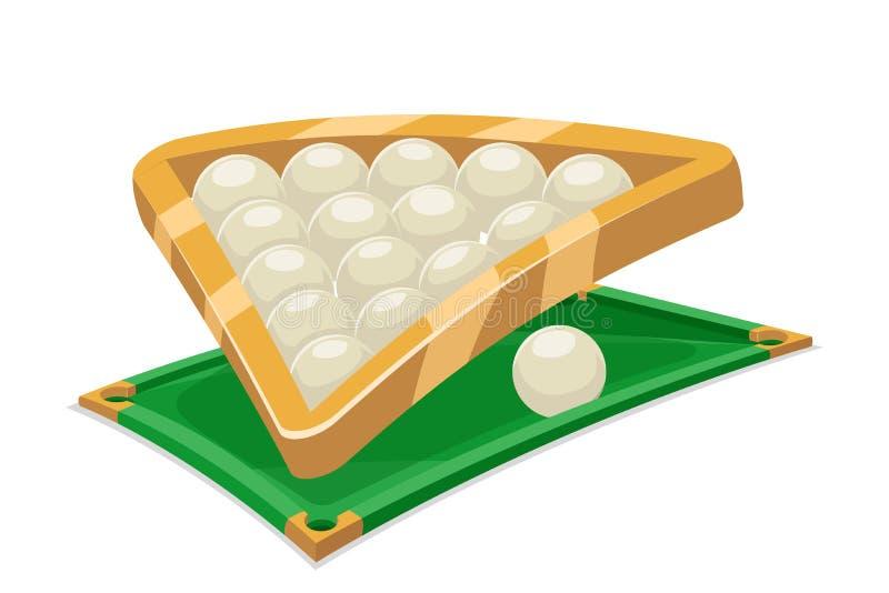 Billardball-Tabellen-Feldsportkarikatur lokalisierte Ikonenvektorillustration vektor abbildung
