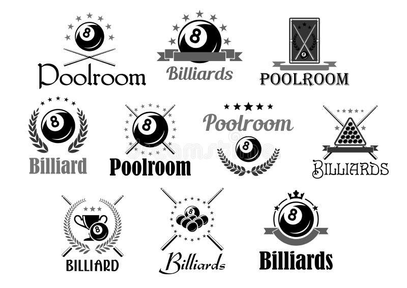 Billards ou icônes de vecteur de club de pièce de piscine réglées illustration stock