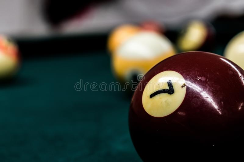 Billards zeven stock fotografie