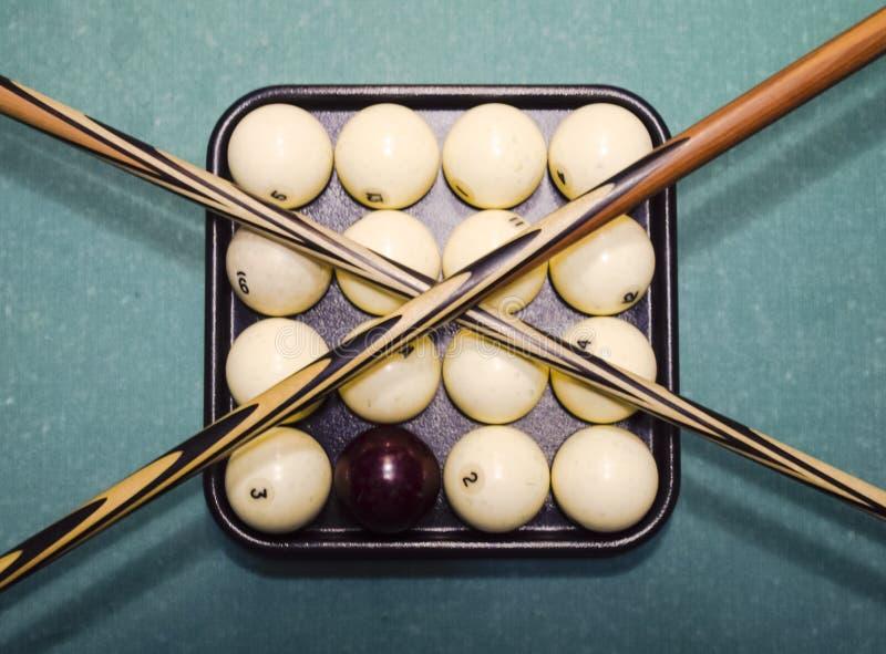 Billares, tabla de billar, bolas y señal Bolas en la bandeja y foto de archivo