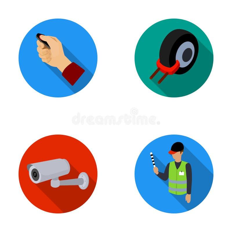 Billarm, hjulkant, säkerhetskamera som parkerar assistenten Symboler för samling för uppsättning för parkeringszon i plant stilve vektor illustrationer