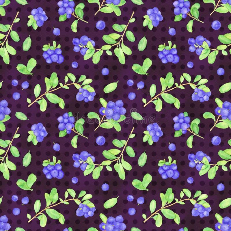 Billberry水彩无缝的样式、越橘水彩墙纸用莓果和叶子 皇族释放例证