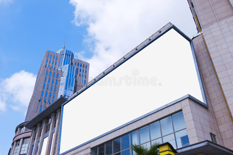 Billboard. Mounted on a building royalty free stock photography