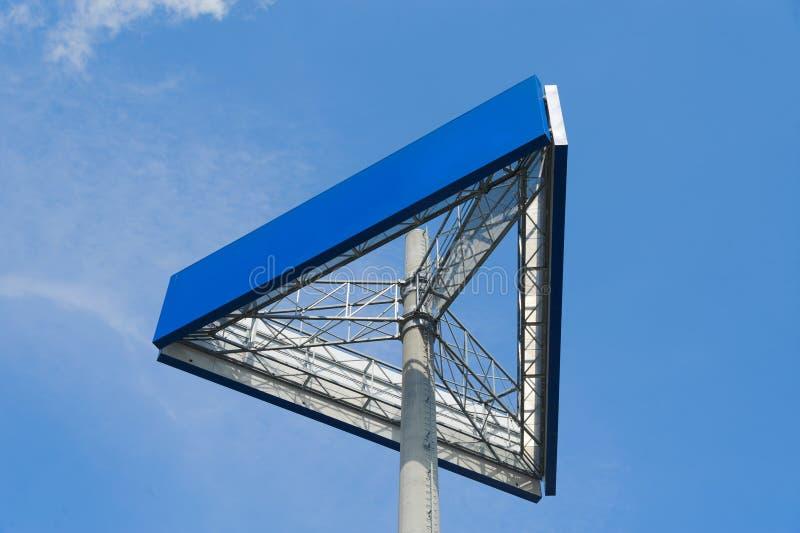 Billboard. Blue billboard and cloudy sky stock photo