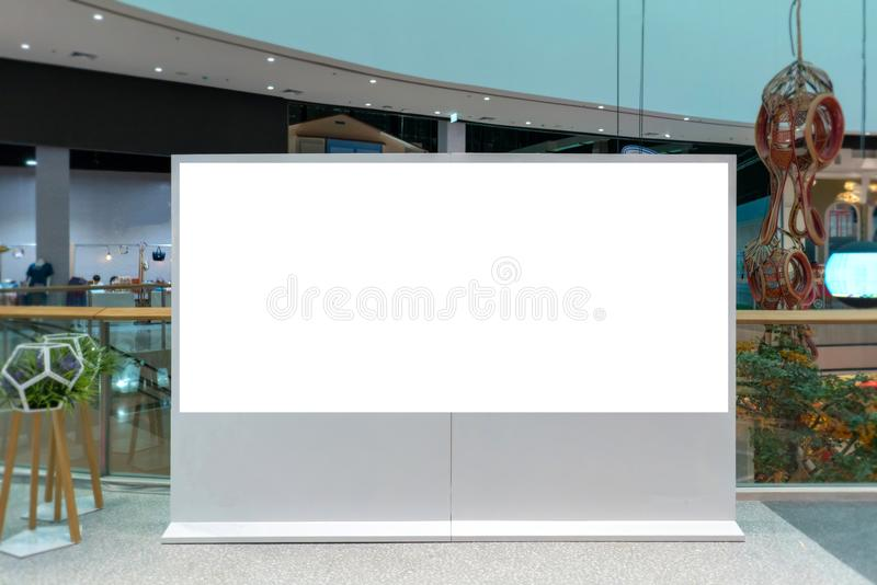 Billboard or advertising poster with empty copy space at Department store.  stock photo
