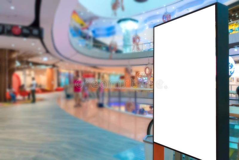 billboard or advertising poster with empty copy space at Department store stock image