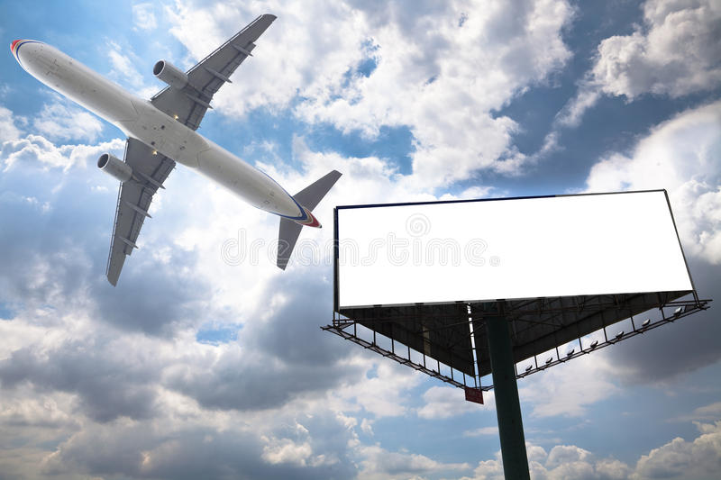 Billboard and airplane royalty free stock photo