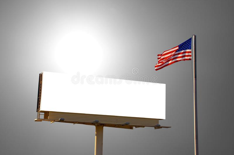 Billboard and American Flag royalty free stock image