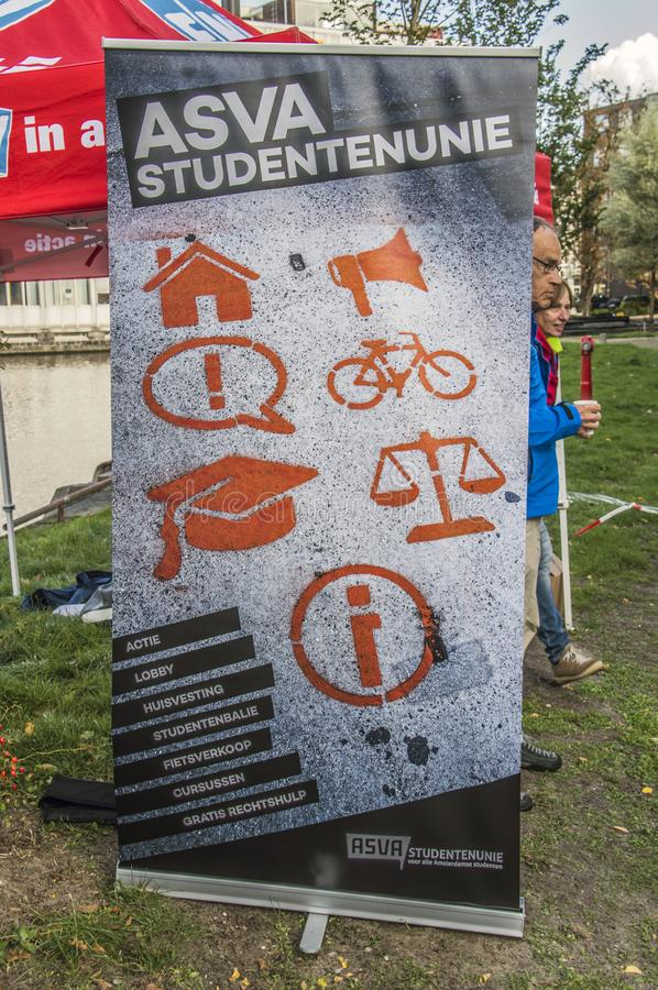 Billboard ASVA Student Union At The UVA Student Protest Against Cuts On Education. All Around The Netherlands Similar Protests Wil stock photos