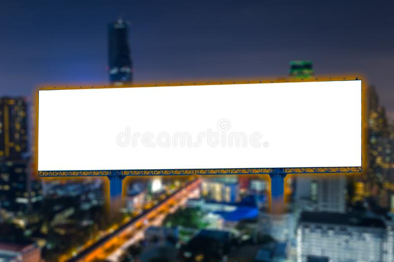 Billboard blank for outdoor advertising poster at night city. Billboard blank for outdoor advertising poster at night time advertisement with midnight street stock image
