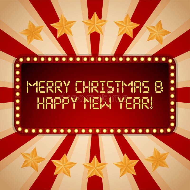 billboard Bulbos elétricos Quadros claros retros Feliz Natal e ano novo feliz ilustração do vetor