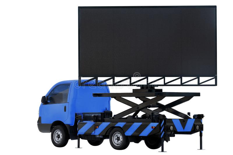 Billboard on car dark blue color LED panel for sign Advertising isolated on background white royalty free stock photo