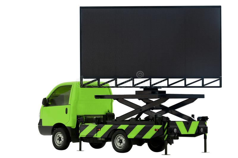Billboard on car green color LED panel for sign Advertising isolated on background white stock photography