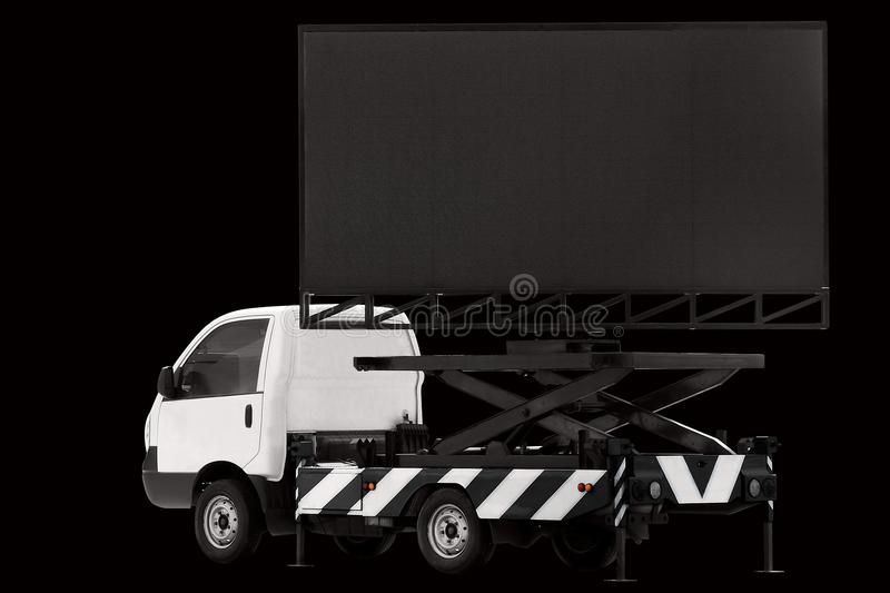 Billboard on car LED panel for sign Advertising isolated on background black royalty free stock images