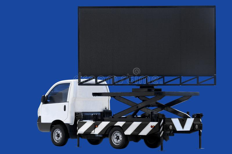 Billboard on car LED panel for sign Advertising isolated on background dark blue stock images