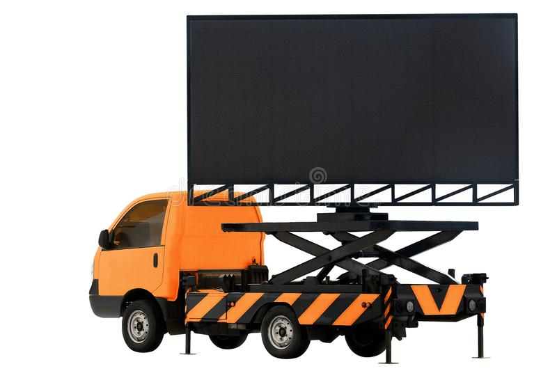 Billboard on car orange color LED panel for sign Advertising isolated on background white stock image