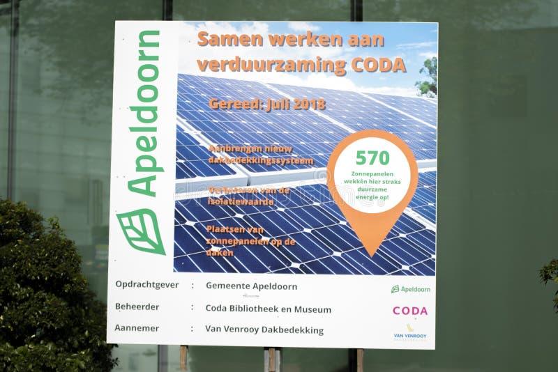 Billboard CODA Solar Panels At Apeldoorn Κάτω Χώρες 2019 στοκ φωτογραφία με δικαίωμα ελεύθερης χρήσης
